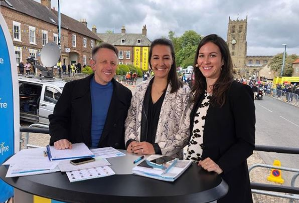 Dani Rowe Commentating La Tour Yorkshire Cycling